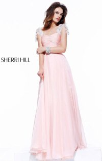 2015 Cap Sleeves Pleated Long Chiffon Evening Gown