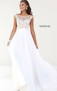 f38b6008d2e 2015 Ivory Nude High-Neck Sherri Hill 11151 Beaded Long Chiffon Prom Dresses