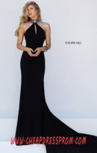 6400acc03ff Black Multi Beading Halter-Neck 2016 Sherri Hill 50122 Long Slim Prom  Dresses