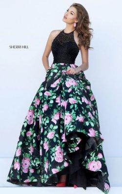Sherri Hill 50425 Halter Neckline Black/Pink Beaded Embellishments Long Floral Printed Prom Dresses 2017