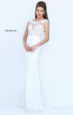 Boat Neckline Ivory Beaded Sherri Hill 50314 Cap Sleeves Lace Applique Long Chiffon Prom Dresses 2016