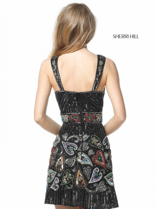 Sherri Hill 51358 Black/Multi Short Party Dresses
