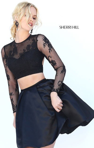 Sherri Hill 50533 Black And Fuchsia And Red And Navy Prom Dresses Affordable