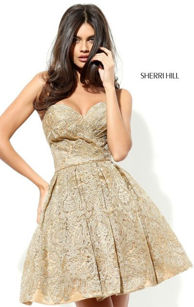 Gold For Sherri Hill 50632 Homecoming Dresses