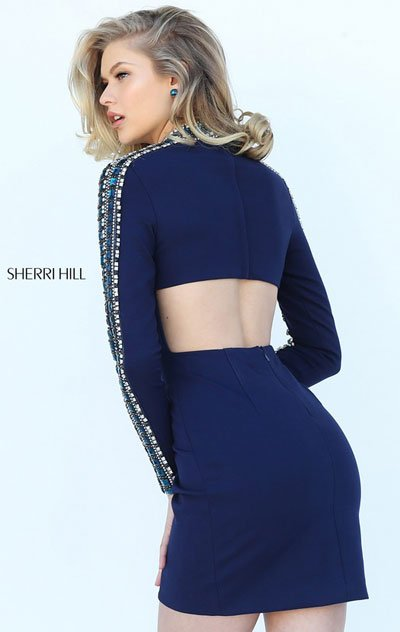 2018 Sherri Hill 50639 Navy Party Dresses