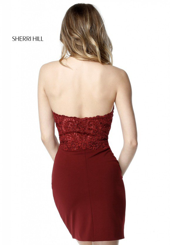 2018 Sherri Hill 51313 Burgundy Prom Dresses