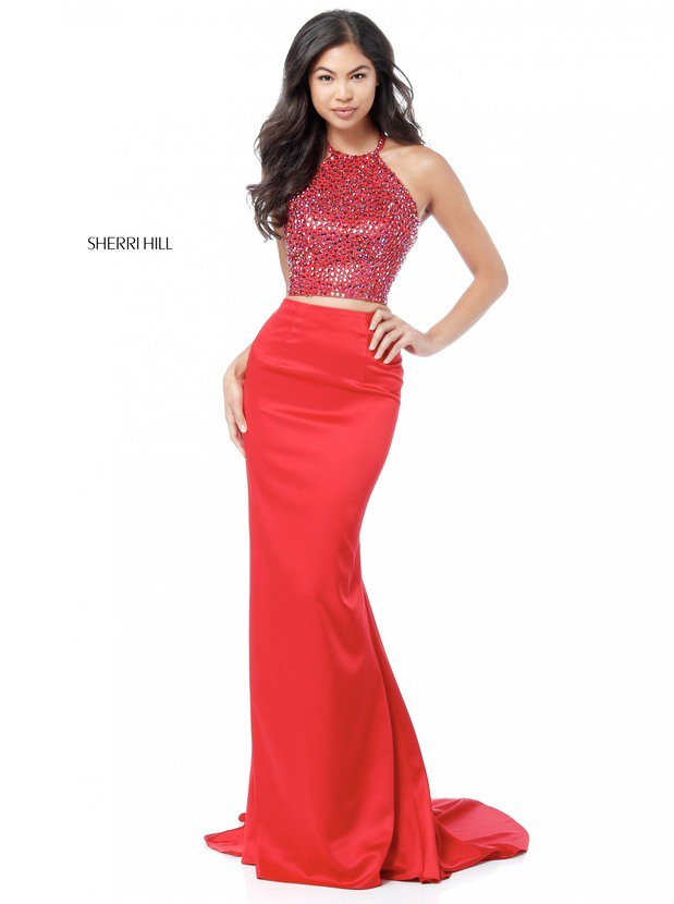 2018 Sherri Hill 51647 Red Long Evening Gowns