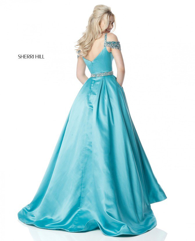 2018 Sherri Hill 51613 Turquoise Long Evening Gowns