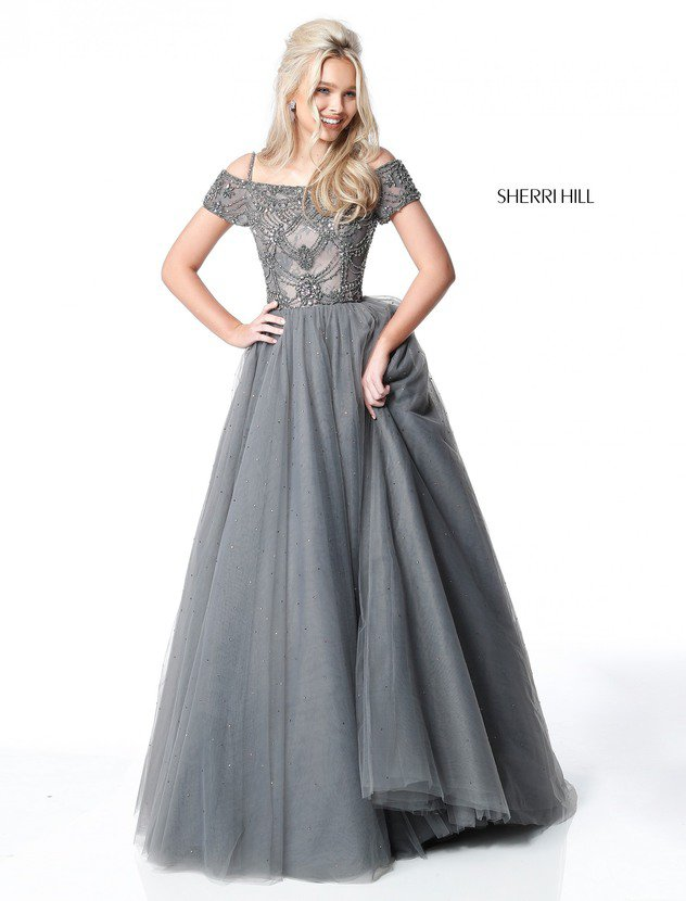 2018 Sherri Hill 51450 Gunmetal Evening Gowns
