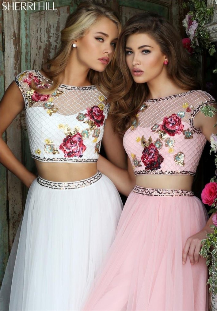 2018 Sherri Hill 32367 Ivory/Multi Party Dresses