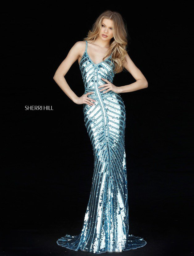 2018 Sherri Hill 51206 Light Blue Mermaid Gown