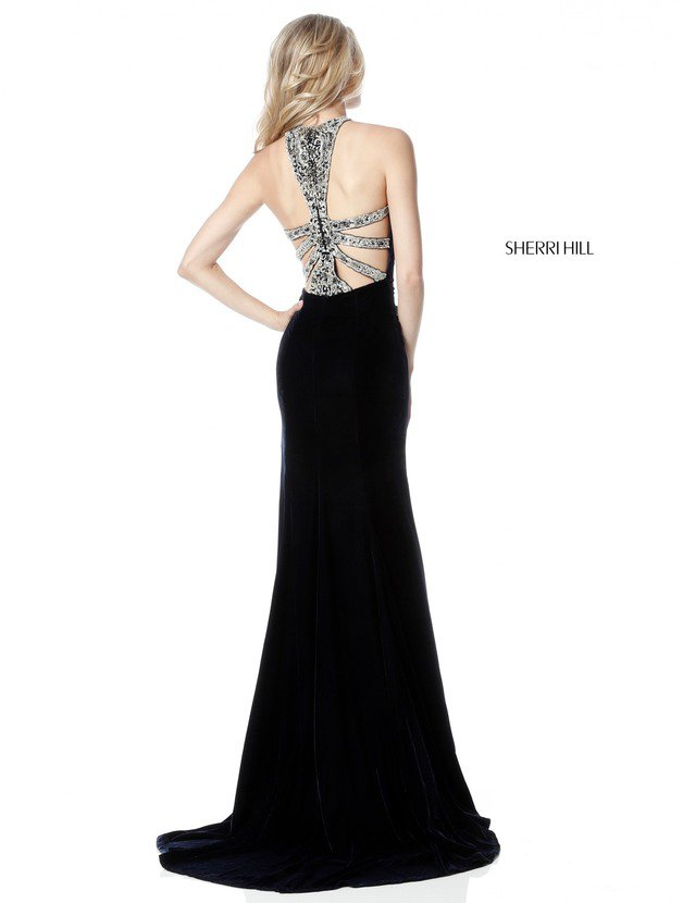 2018 Sherri Hill 51400 Black Long Prom Dresses