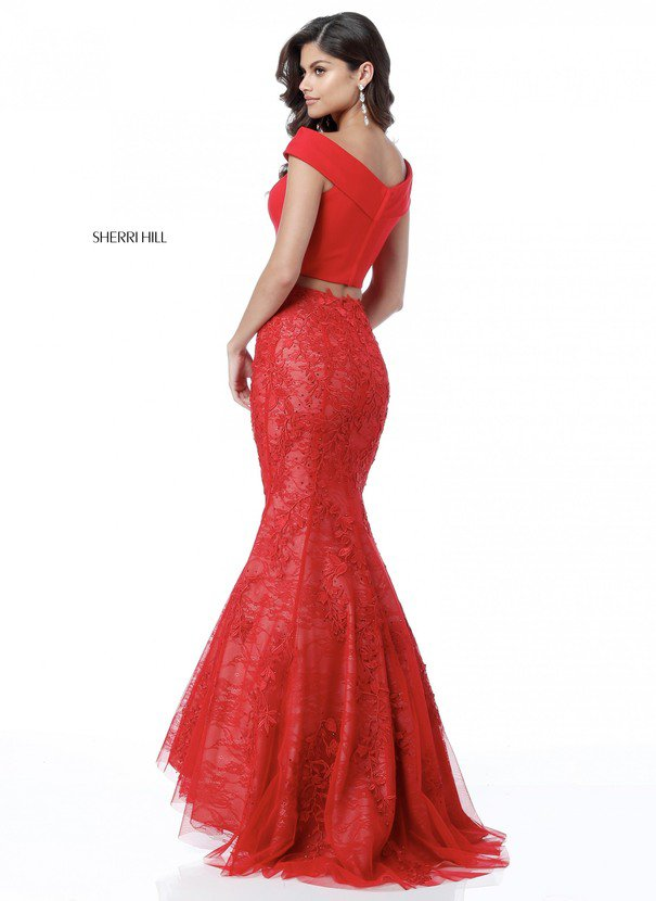 2018 Sherri Hill 51730 Red Long Mermaid Gowns