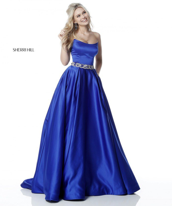 2018 Sherri Hill 51609 Royal Long Evening Gowns