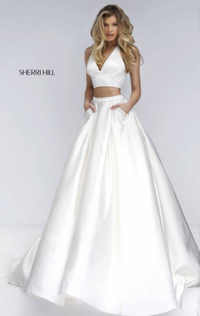 2018 Sherri Hill 50053 Ivory Long Party Dresses