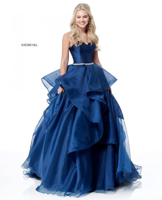 2018 Sherri Hill 51701 Navy Long Ball Gowns