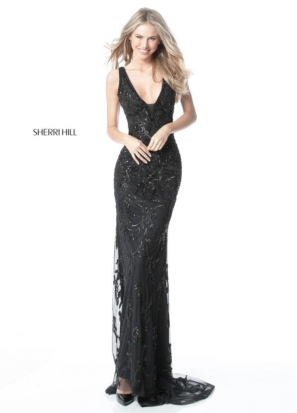 2017 Sherri Hill 51473 Black Long Prom Dresses