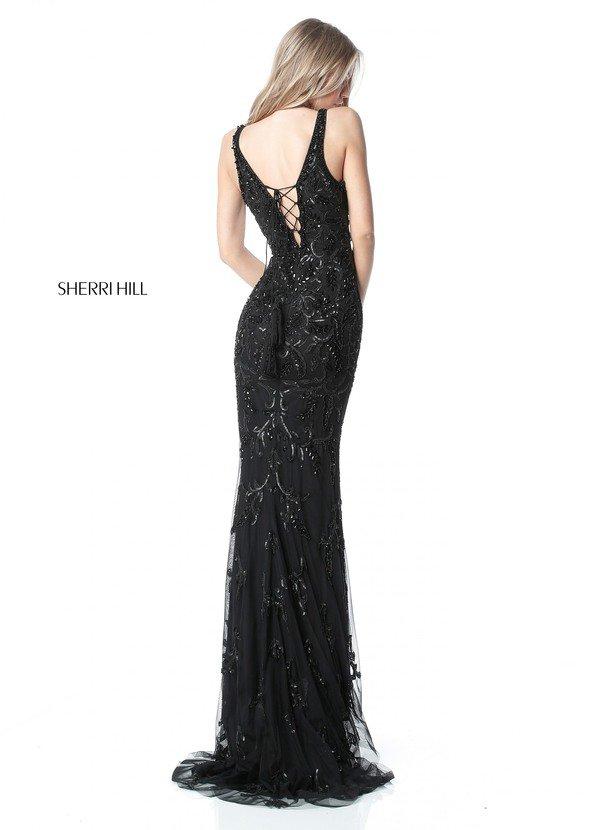 2017 Sherri Hill 51473 Black Long Prom Dresses