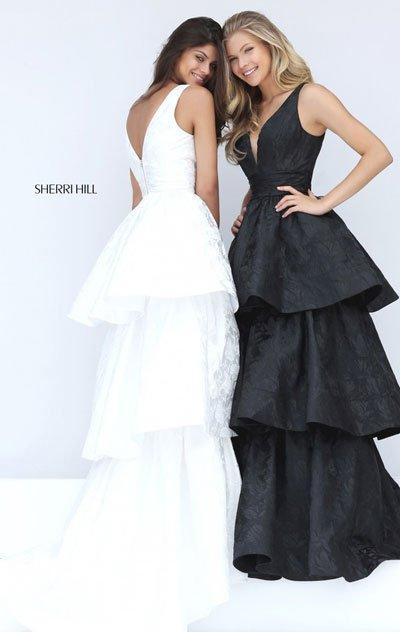 2017 Sherri Hill 50775 Black Long Prom Dresses