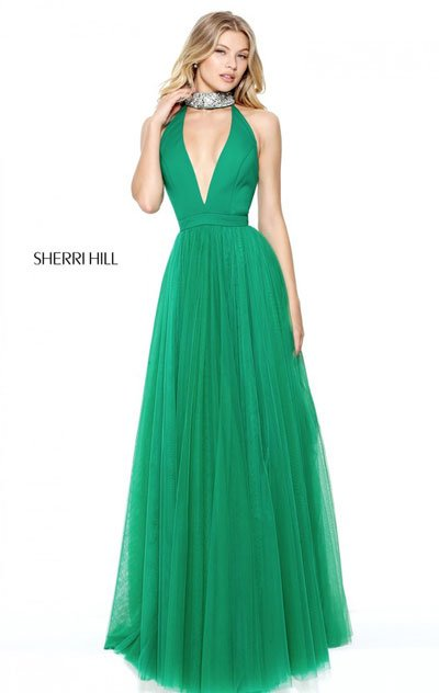 2017 Sherri Hill 50840 Emerald Long Evening Gowns