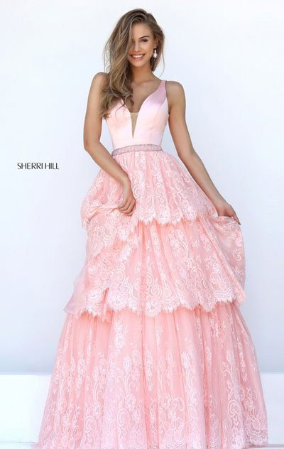 2017 Sherri Hill 50844 Blush Long Evening Gowns