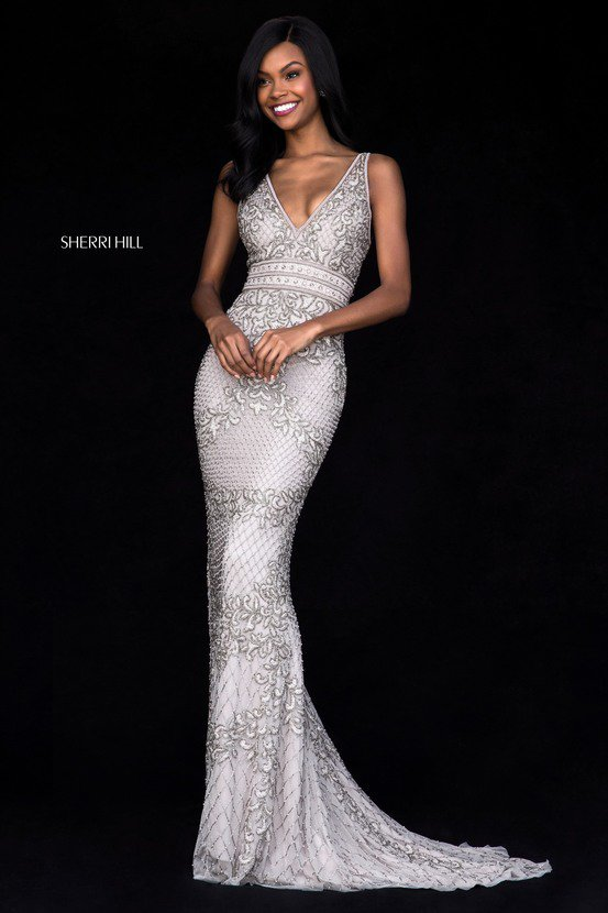 2018 Sherri Hill 51475 Ivory Long Evening Gowns