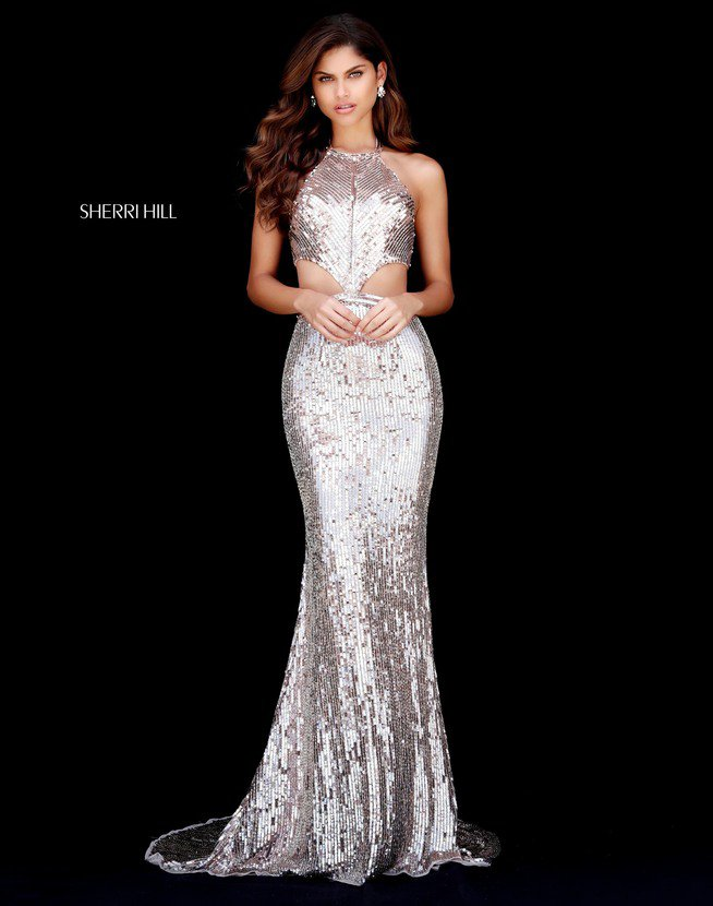 2018 Sherri Hill 51663 Rose Gold Long Prom Dresses
