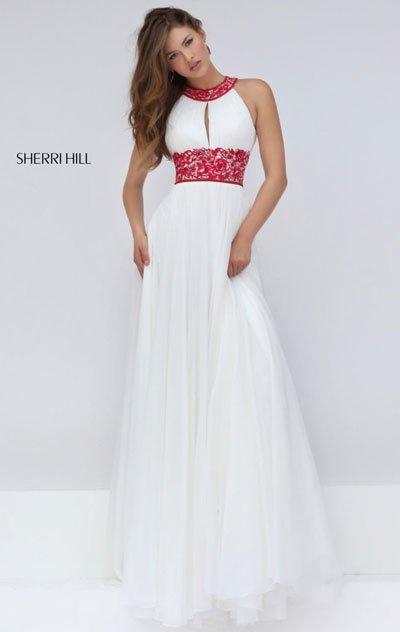 Sherri Hill 50150 Ivory/Fuchsia Long Prom Dresses 2016