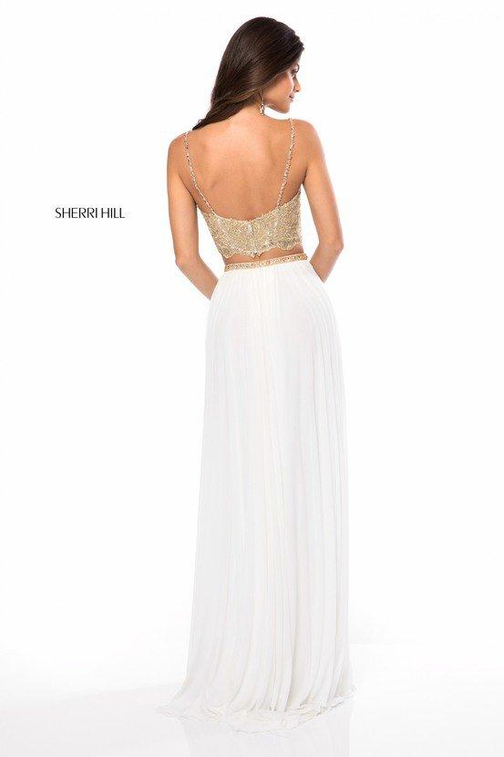 2018 Sherri Hill 51842 Ivory/Gold Long Prom Dress