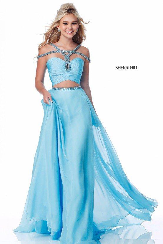 2018 SH 51812 Light Blue Long Prom Dresses