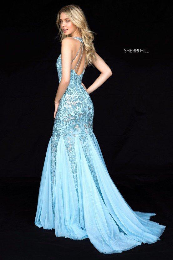 Light Blue SH 51787 Net Mermaid Gowns 2018