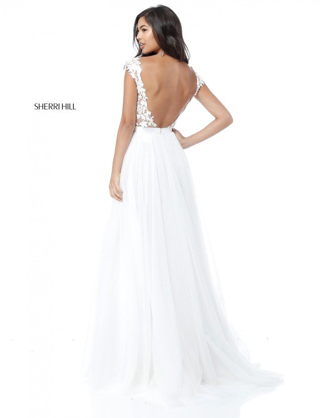 2018 Applique SH 51638 A Line Ivory Evening Gowns