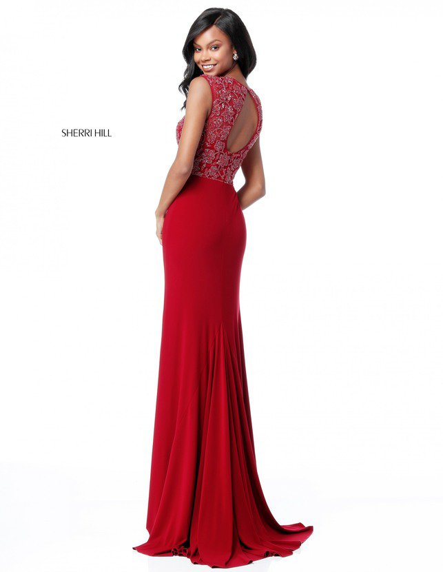2018 Sherri Hill Style 51692 Long Evening Dresses Burgundy