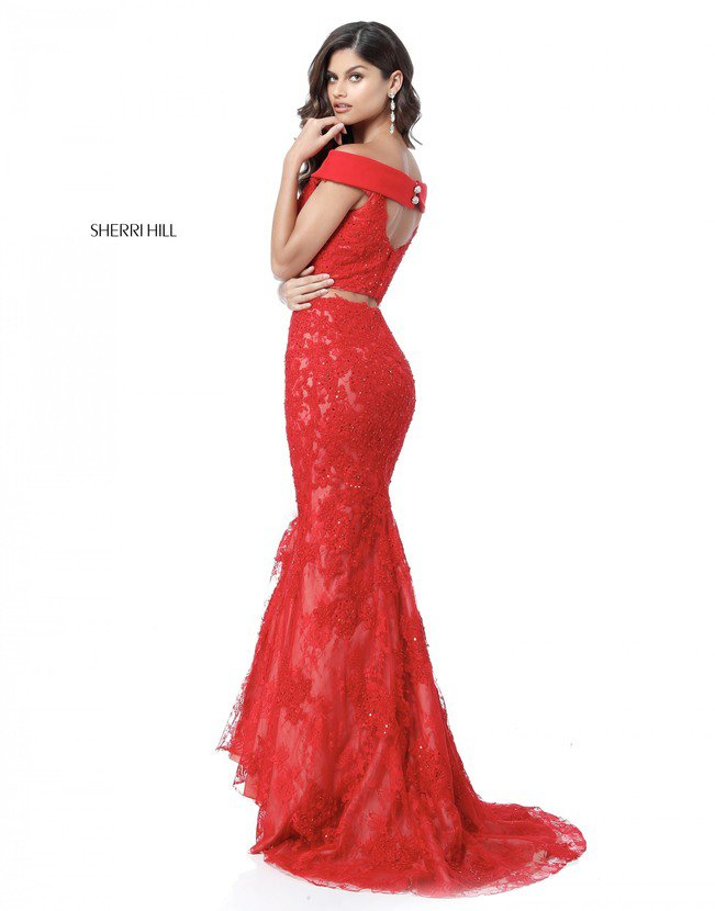 2 Piece Sherri Hill Style 51727 Lace Red Mermaid Dresses