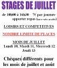 STAGE DE JUILLET ET AOUT