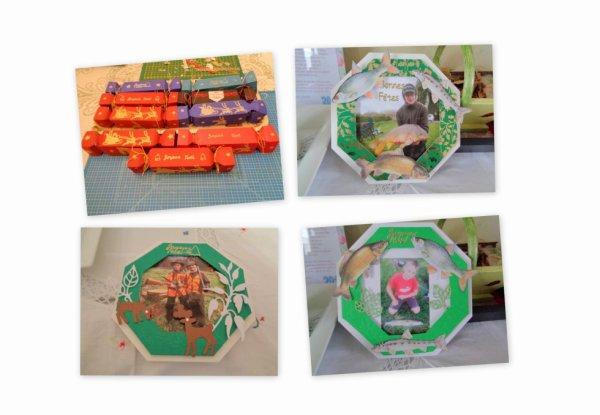 boites pour chocolats et cartes pour mes petits.peche et chasse