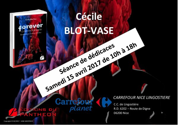 Cécile BLOT-VASE en dédicace au Carrefour Nice Lingostière