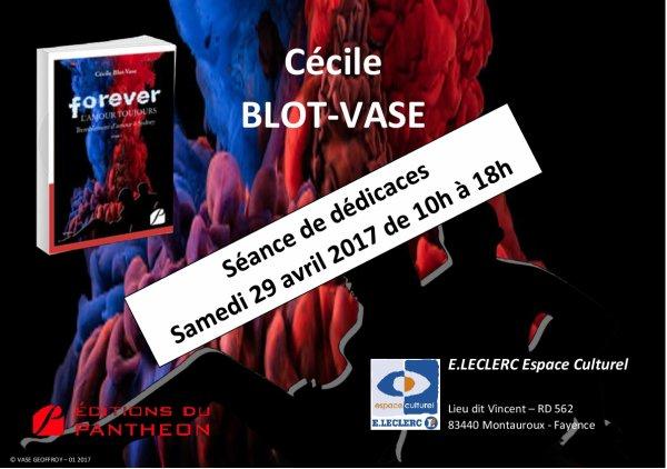 Cécile BLOT-VASE en rencontre-dédicace a l'Espace Culturel E.Leclerc de Montauroux-Fayance