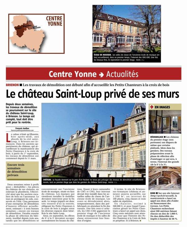 NOUVELLE ARTICLE DANS L'YONNE REPUBLICAINE, ETAT DES TRAVAUX....