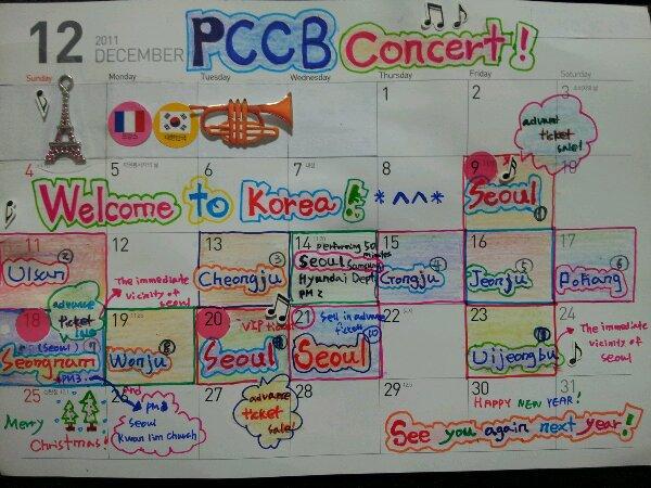 LIEUX ET DATES CONCERTS PCCB COREE 2011