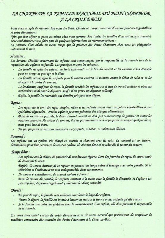LA CHARTE DE LA FAMILLE D'ACCUEIL DU PETIT CHANTEUR A LA CROIX DE BOIS