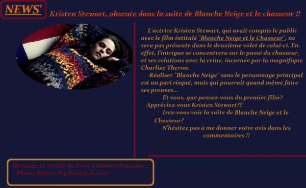 Kristen Stewart: Absente dans la suite de Blanche Neige et le Chasseur !!