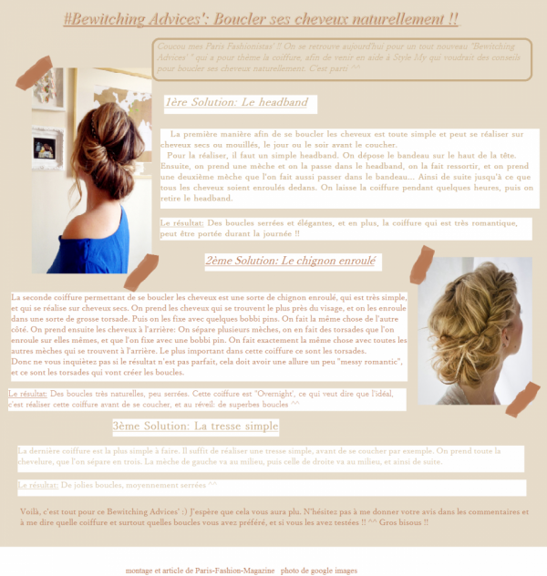 #Bewitching Advices ' N°3: Se boucler les cheveux naturellement !!