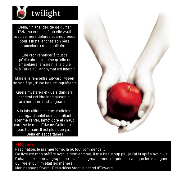 Twilight, Chapitre 1 : Fascination  Fascination
