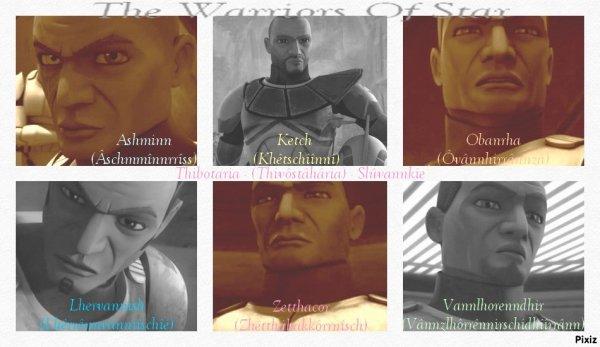 Noms de quelques un des Heat'Twelks de ma série (nom d'origine Slûvannkie de la planète Thibotaria)