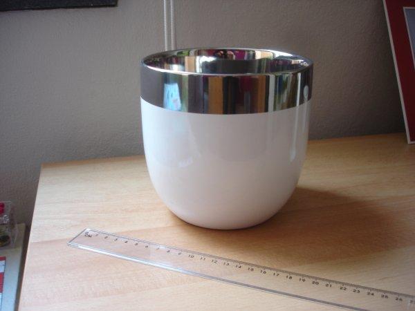 Pot blanc argenté diamètre15 cm