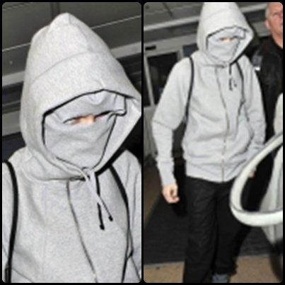 Des photos de Justin datant d'hier à l'aéroport de Londres, le moins que l'on puisse dire est qu'il se cachait des paparazzis