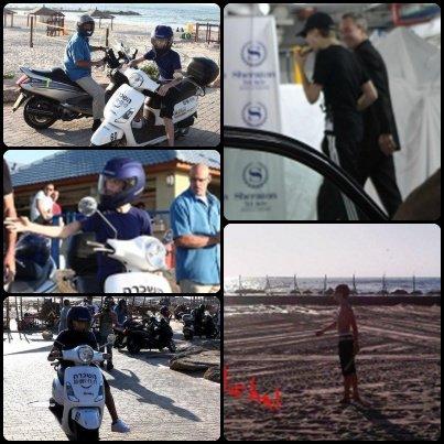 Justin est arrivé en Israël il n'y a pas très longtemps. Il à était vu se promenant en scooter sur la plage « Baruch » à Tel Aviv avec quelques membres de son équipe