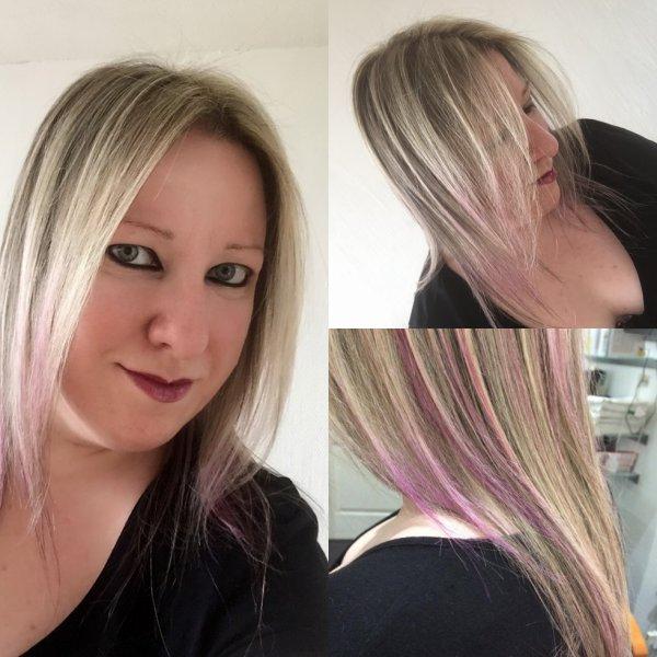 NEW LOOK avec petites mèches violettes !!!!!