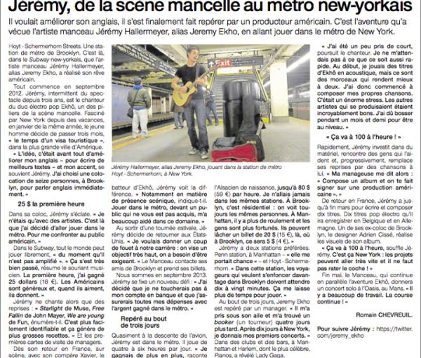 Jeremy de la scene mancelle au metro new-yorkais